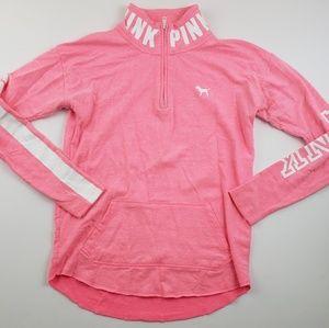Victoria's Secret Pink Pink and White Half Zip xs